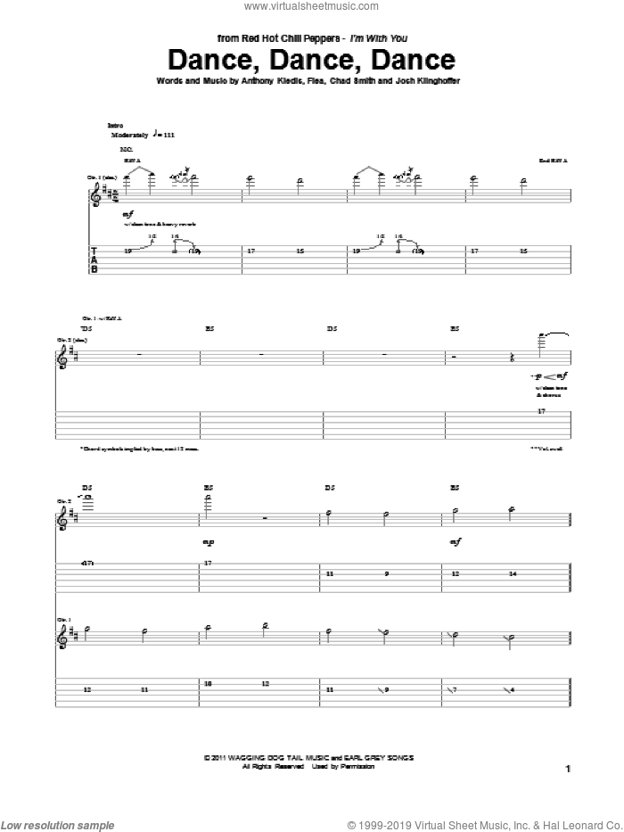 Dance, Dance, Dance sheet music for guitar (tablature) by Red Hot Chili Peppers. Score Image Preview.