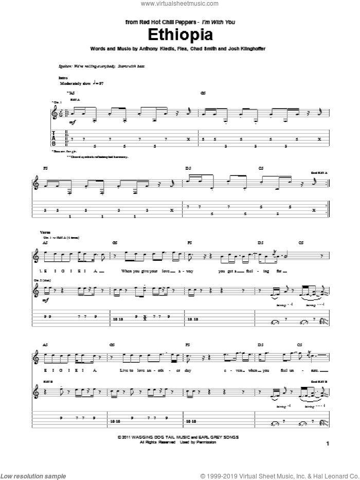 Ethiopia sheet music for guitar (tablature) by Red Hot Chili Peppers, intermediate guitar (tablature). Score Image Preview.
