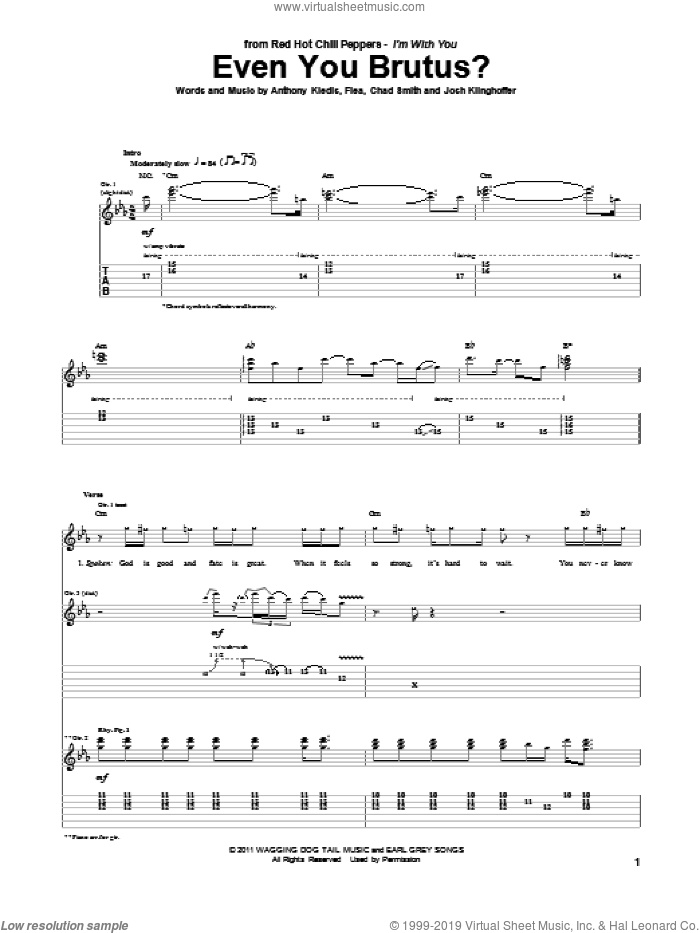 Even You Brutus? sheet music for guitar (tablature) by Red Hot Chili Peppers, Anthony Kiedis, Chad Smith, Flea and Josh Klinghoffer, intermediate skill level