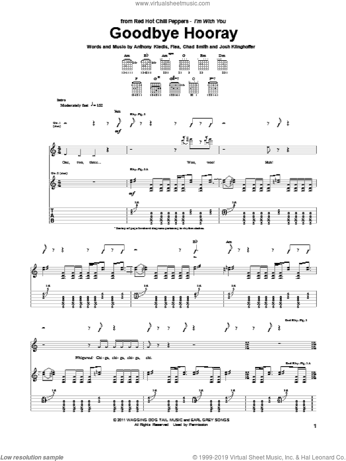 Goodbye Hooray sheet music for guitar (tablature) by Josh Klinghoffer, Red Hot Chili Peppers and Flea. Score Image Preview.