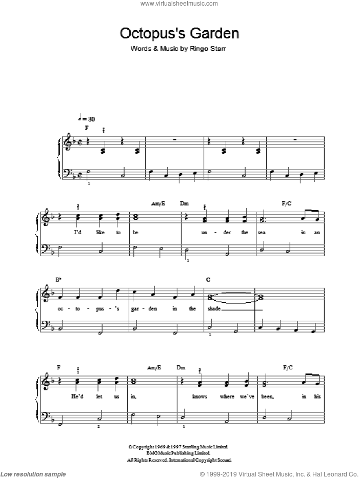 Octopus's Garden sheet music for voice, piano or guitar by The Beatles, Paul McCartney and Ringo Starr, intermediate skill level