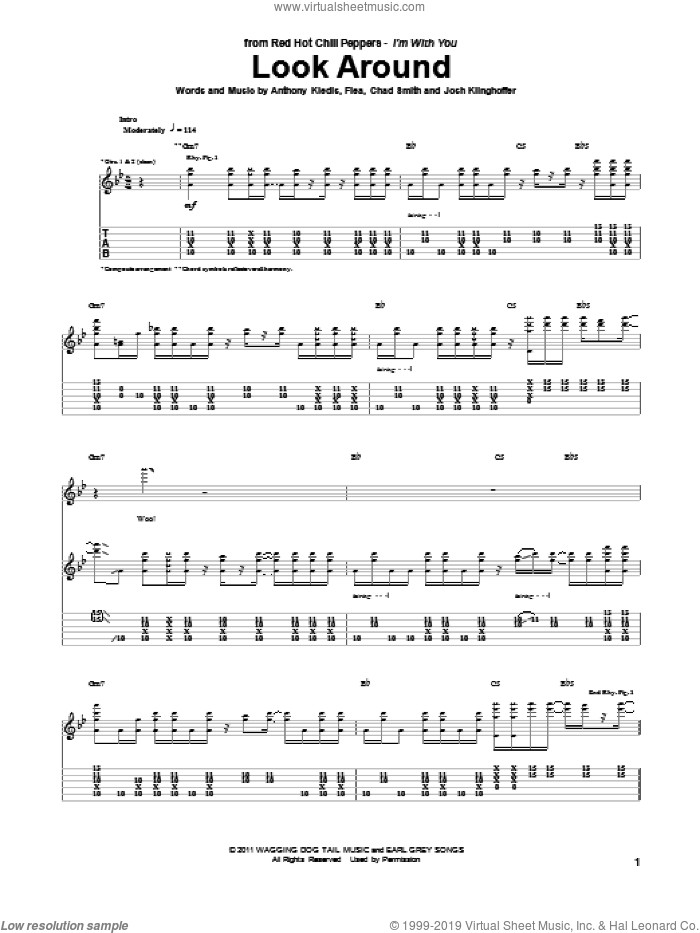 Look Around sheet music for guitar (tablature) by Red Hot Chili Peppers, intermediate guitar (tablature). Score Image Preview.