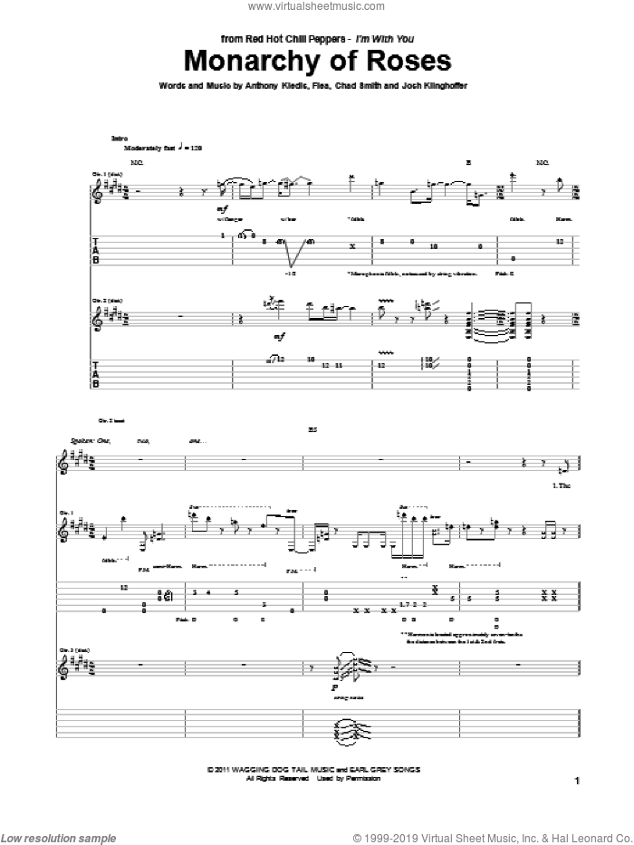 Monarchy Of Roses sheet music for guitar (tablature) by Josh Klinghoffer, Red Hot Chili Peppers and Flea. Score Image Preview.