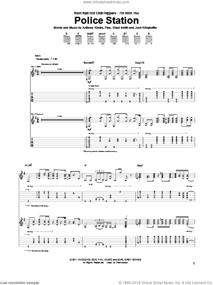 Police Station sheet music for guitar (tablature) by Red Hot Chili Peppers, Anthony Kiedis, Chad Smith, Flea and Josh Klinghoffer, intermediate skill level