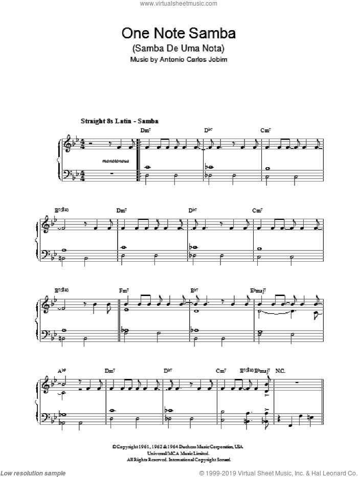 One Note Samba (Samba De Uma Nota) sheet music for voice, piano or guitar by Newton Mendonca, Antonio Carlos Jobim and Jon Hendricks. Score Image Preview.
