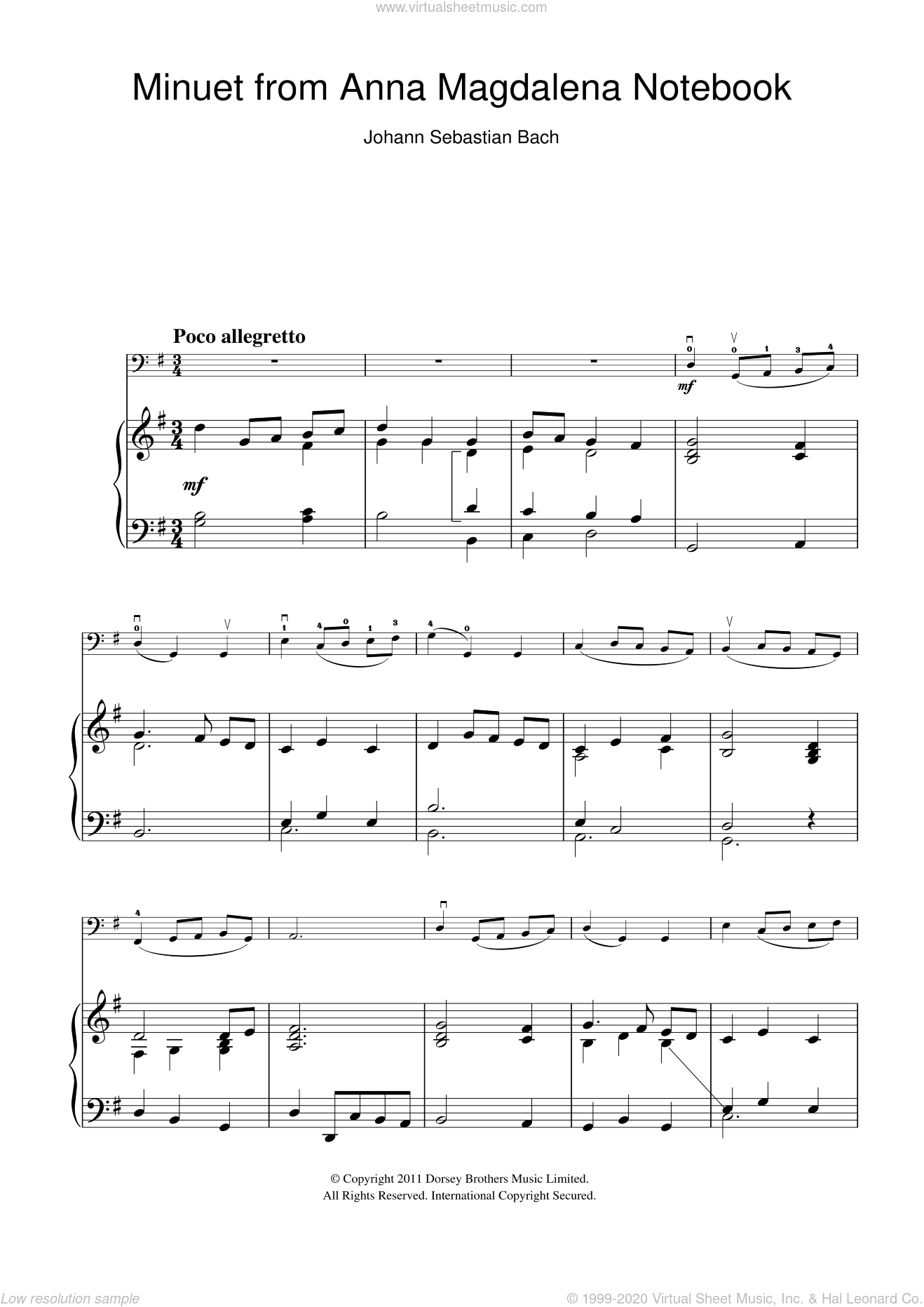 Minuet in G Major (from The Anna Magdalena Notebook) sheet music for cello solo by Johann Sebastian Bach, classical score, intermediate skill level