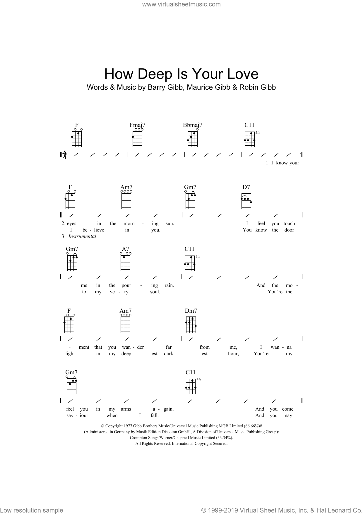 Gees How Deep Is Your Love Sheet Music For Ukulele Chords