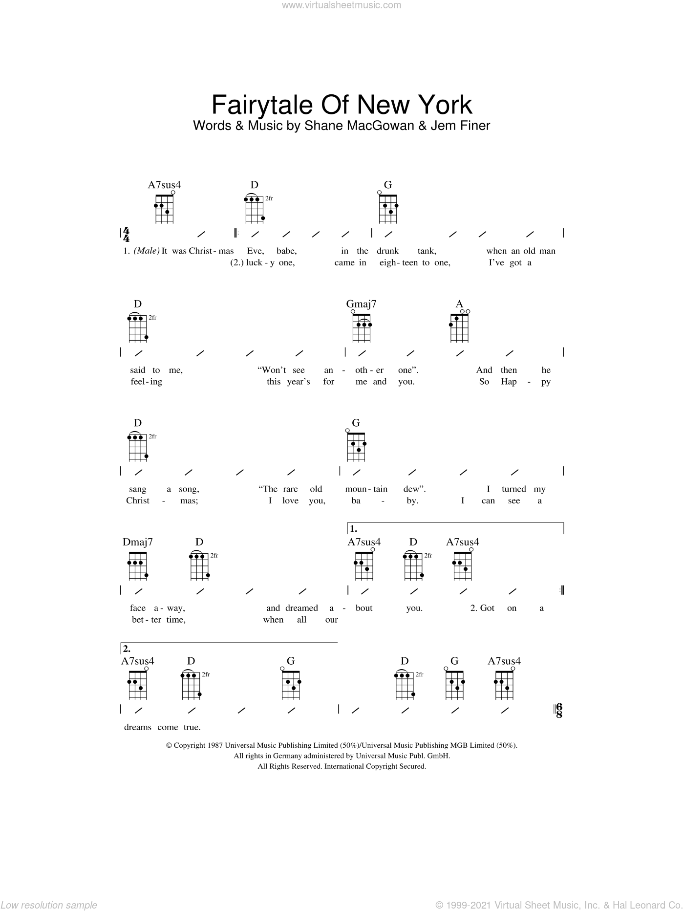 Fairytale Of New York sheet music for ukulele (chords) by Shane MacGowan