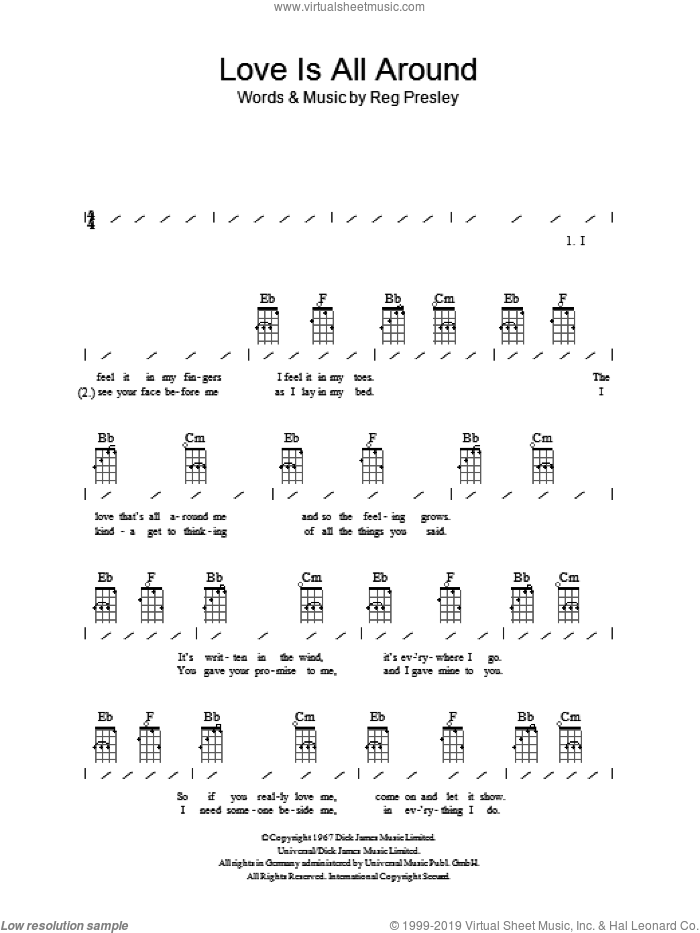 Love Is All Around sheet music for ukulele (chords) by Reg Presley