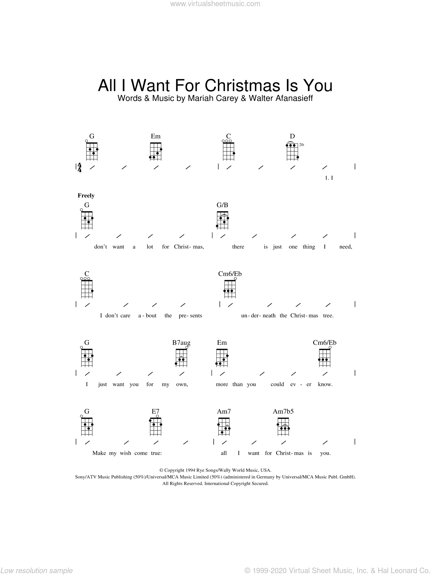 All I Want For Christmas Is You sheet music for ukulele (chords) by Walter Afanasieff