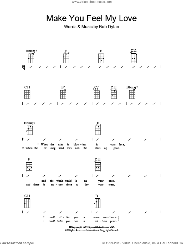 Make You Feel My Love sheet music for ukulele (chords) by Adele and Bob Dylan, intermediate skill level