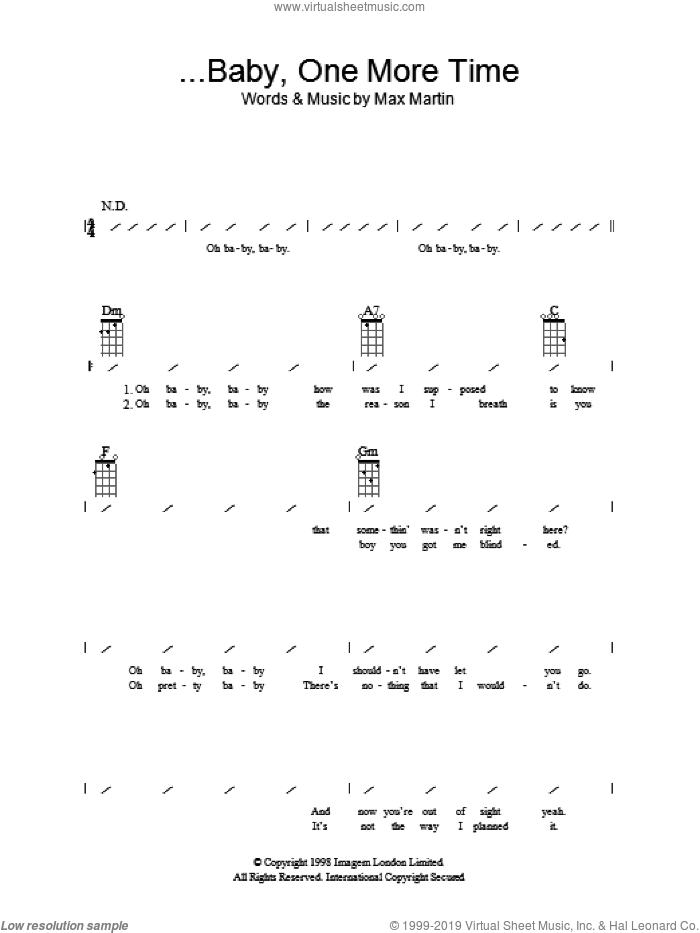 ...Baby One More Time sheet music for ukulele (chords) by Max Martin and Britney Spears. Score Image Preview.