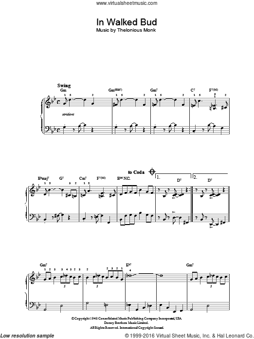 In Walked Bud sheet music for piano solo by Thelonious Monk. Score Image Preview.