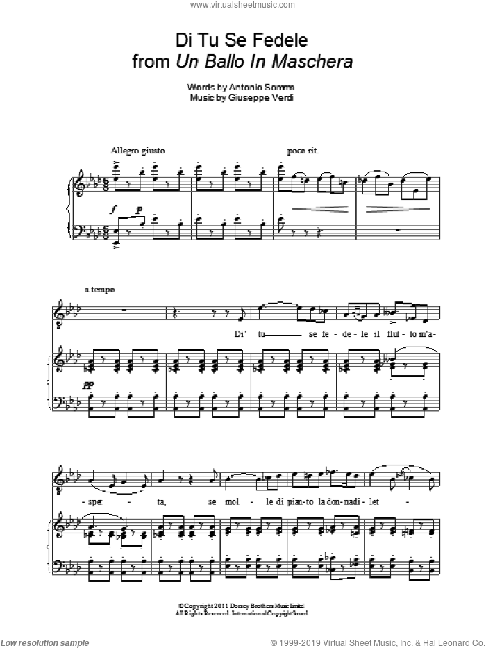 Di Tu Se Fedele sheet music for voice and piano by Giuseppe Verdi and Andrea Bocelli. Score Image Preview.