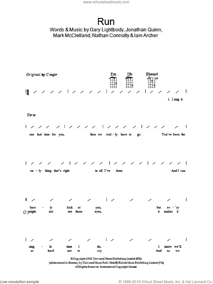 Run sheet music for ukulele (chords) by Nathan Connolly, Leona Lewis, Snow Patrol, Gary Lightbody and Iain Archer. Score Image Preview.