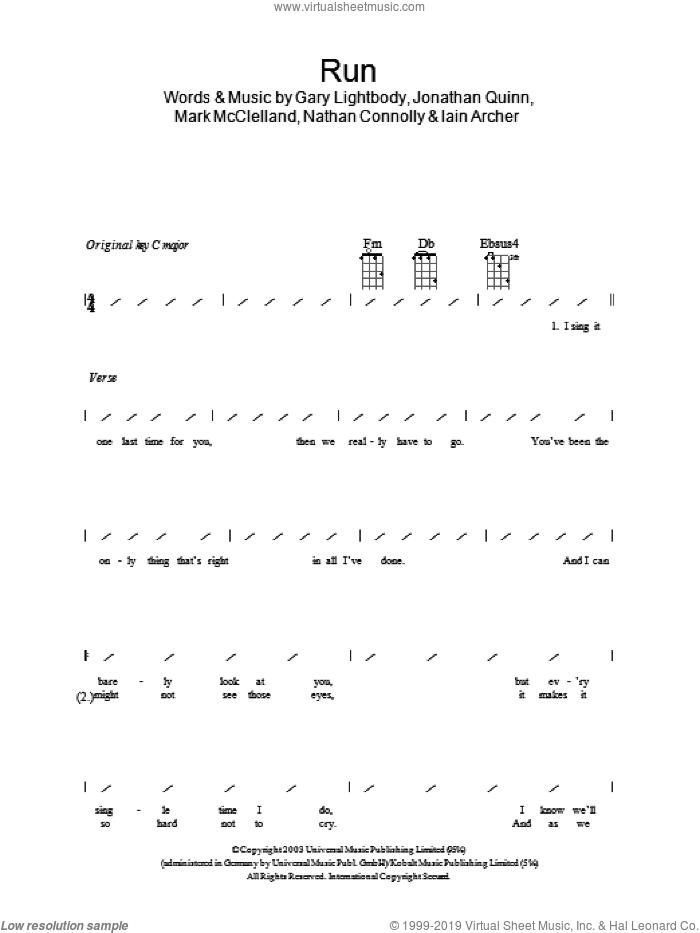 Run sheet music for ukulele (chords) by Snow Patrol, Leona Lewis, Gary Lightbody, Iain Archer, Jonathan Quinn, Mark McClelland and Nathan Connolly, intermediate skill level