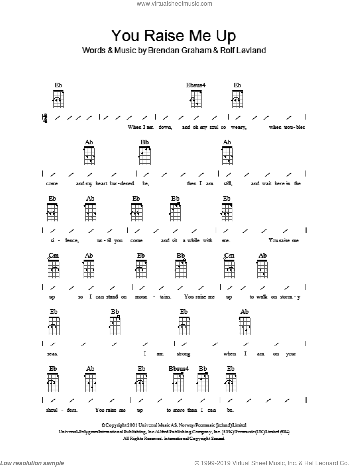 Westlife You Raise Me Up Sheet Music For Ukulele Chords Pdf