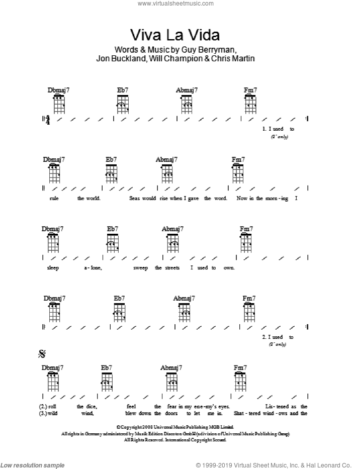 Viva La Vida sheet music for ukulele (chords) by Will Champion, Coldplay, Chris Martin, Guy Berryman and Jon Buckland. Score Image Preview.