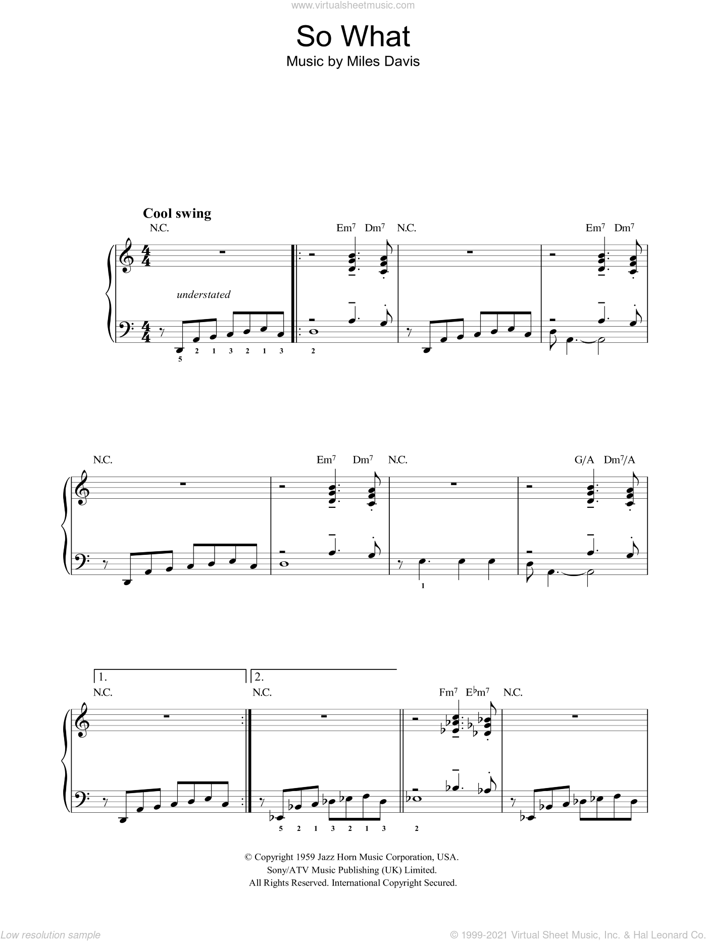 So What sheet music for voice, piano or guitar by Miles Davis, intermediate. Score Image Preview.