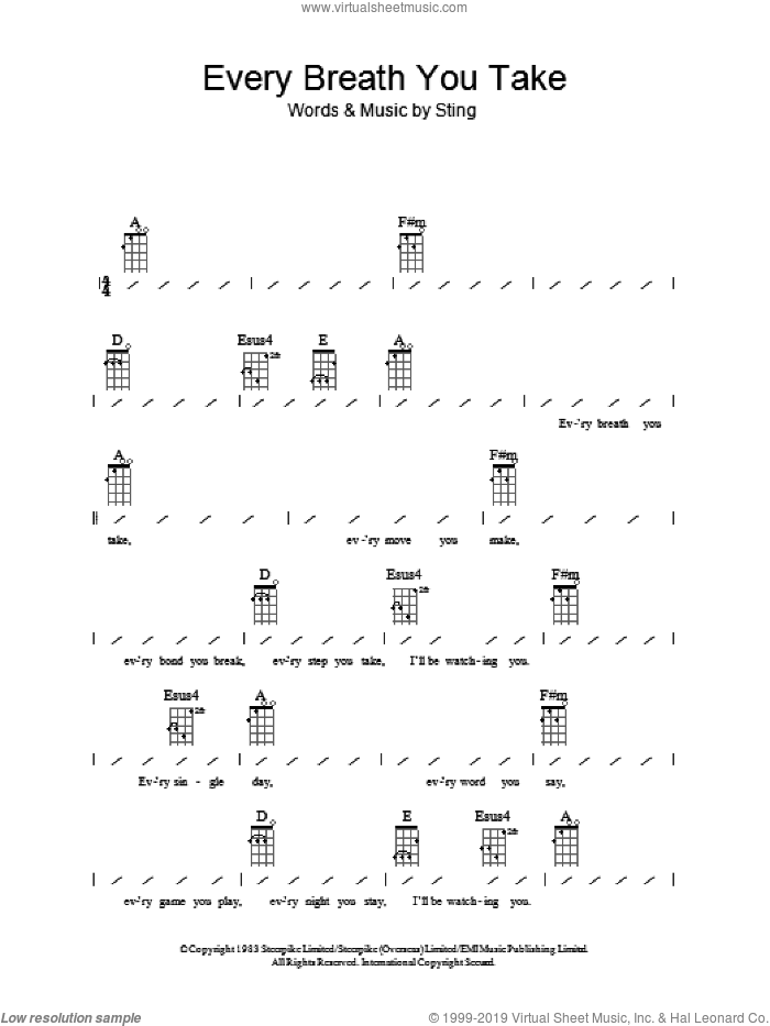 Every Breath You Take sheet music for ukulele (chords) by Sting