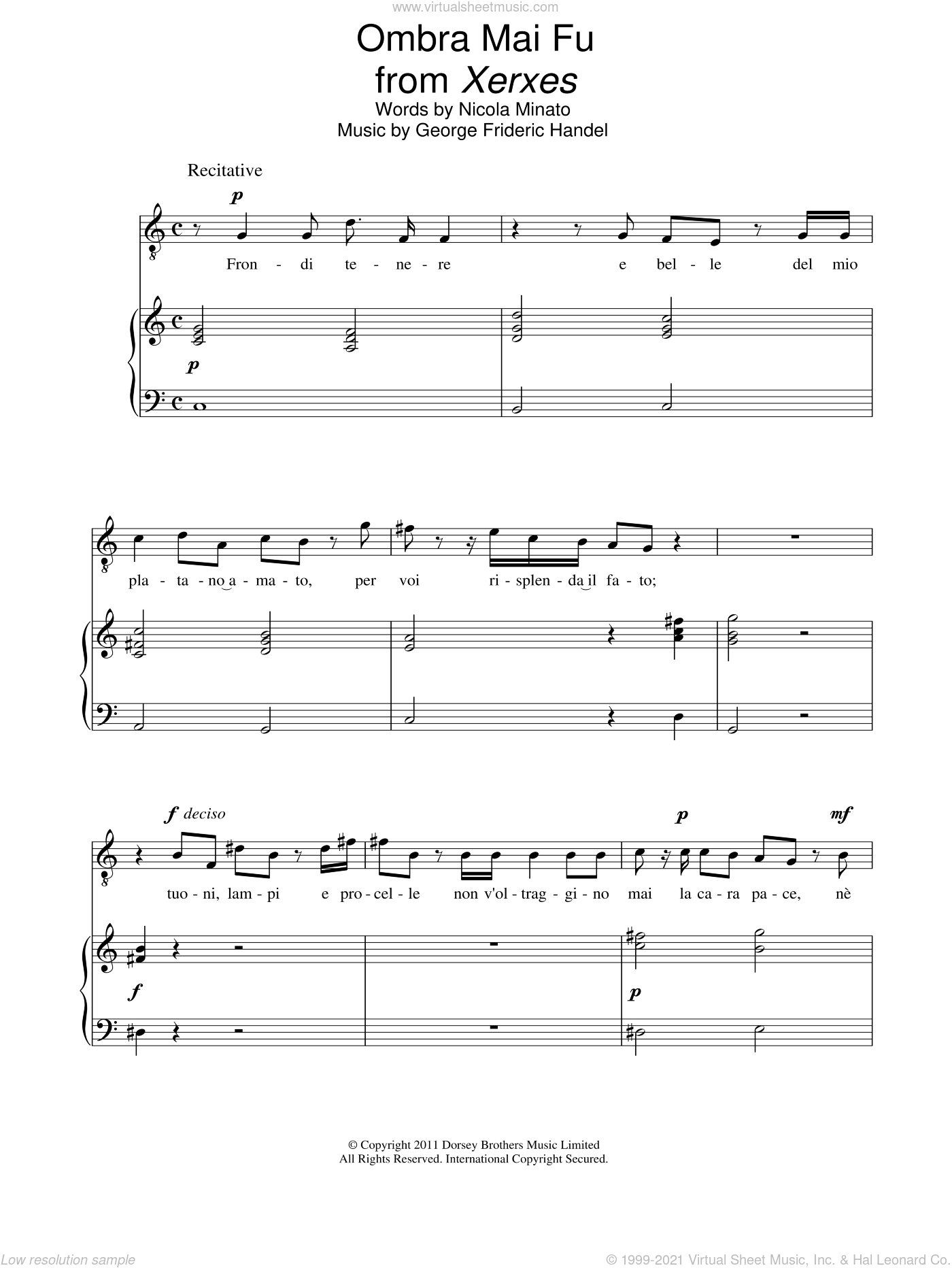 Ombra Mai Fu sheet music for voice and piano by Nicola Minato