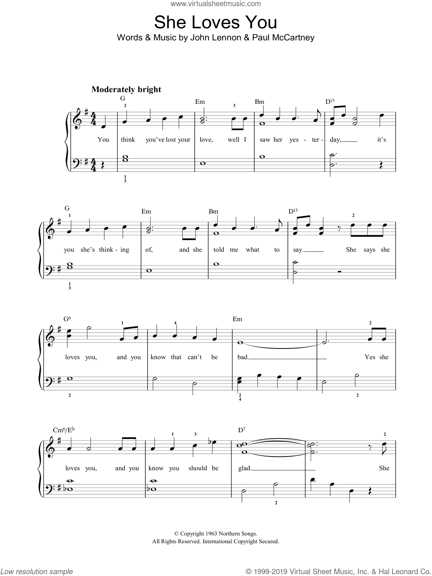 She Loves You sheet music for piano solo by The Beatles, John Lennon and Paul McCartney, easy skill level