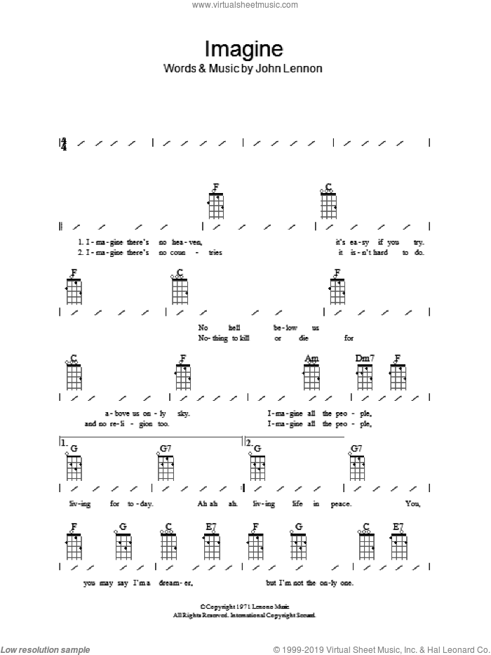 Imagine sheet music for ukulele (chords) by John Lennon