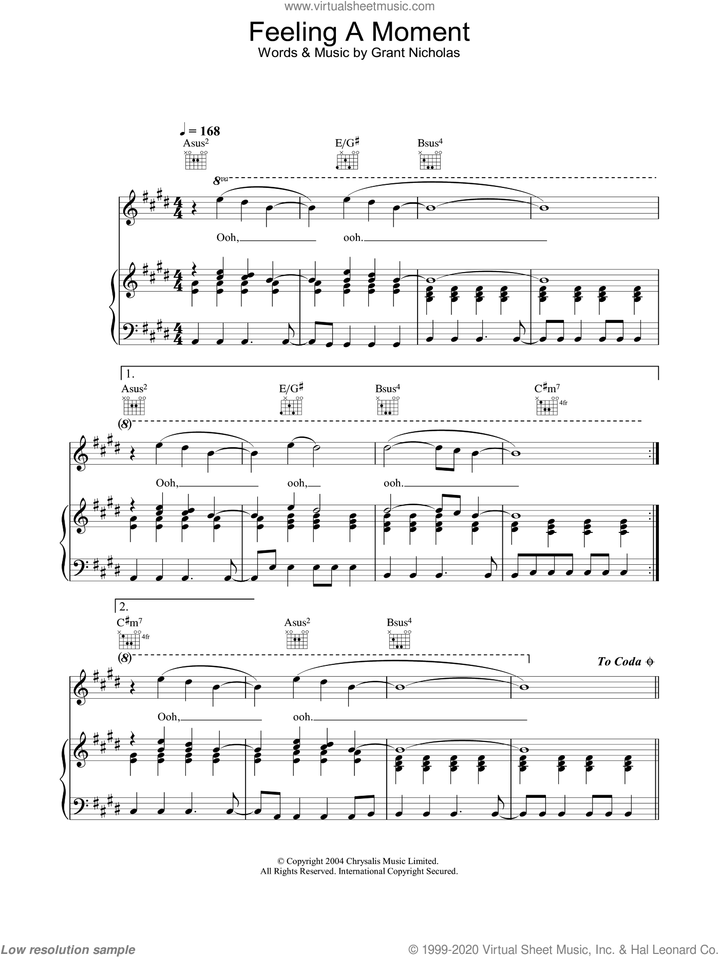 Feeling A Moment sheet music for voice, piano or guitar by Grant Nicholas