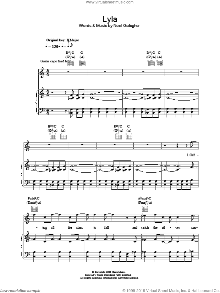 Lyla sheet music for voice, piano or guitar by Noel Gallagher and Oasis. Score Image Preview.