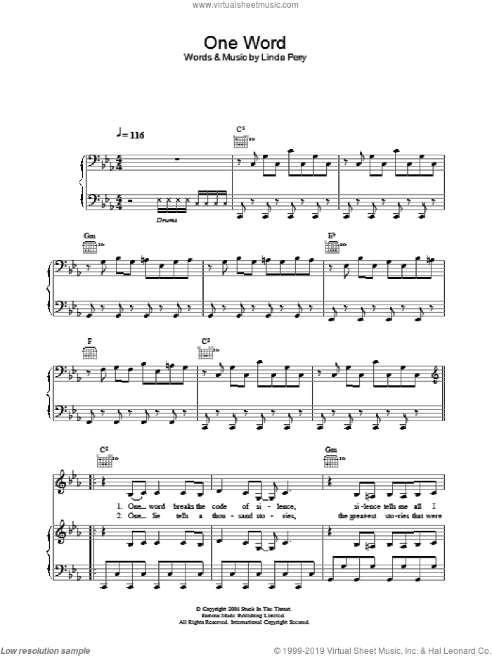 One Word sheet music for voice, piano or guitar by Linda Perry. Score Image Preview.
