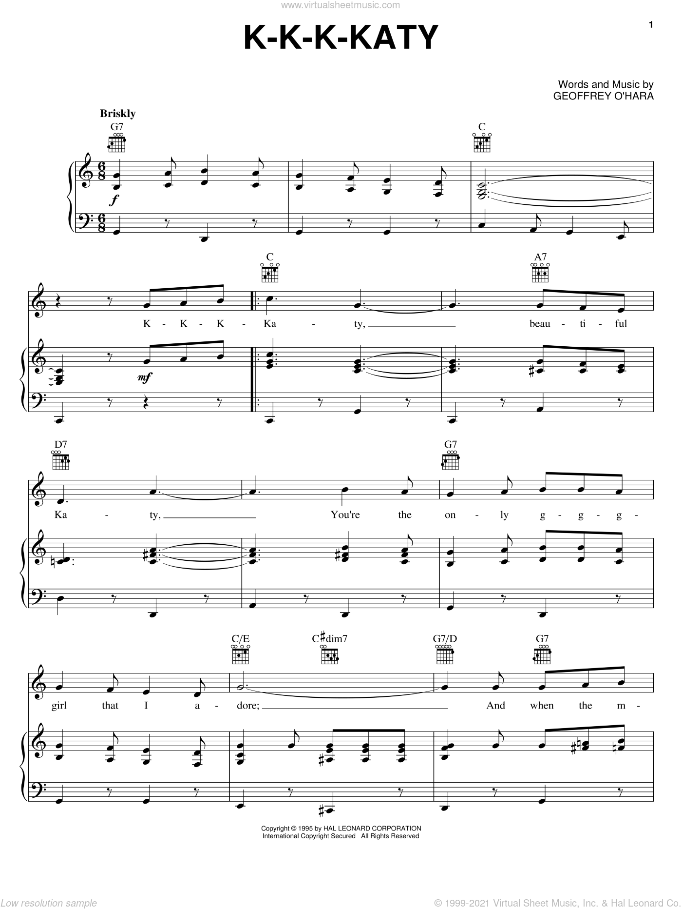 K-K-K-Katy sheet music for voice, piano or guitar by Geoffrey O'Hara, intermediate skill level