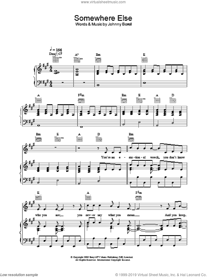Somewhere Else sheet music for voice, piano or guitar by Razorlight, intermediate voice, piano or guitar. Score Image Preview.
