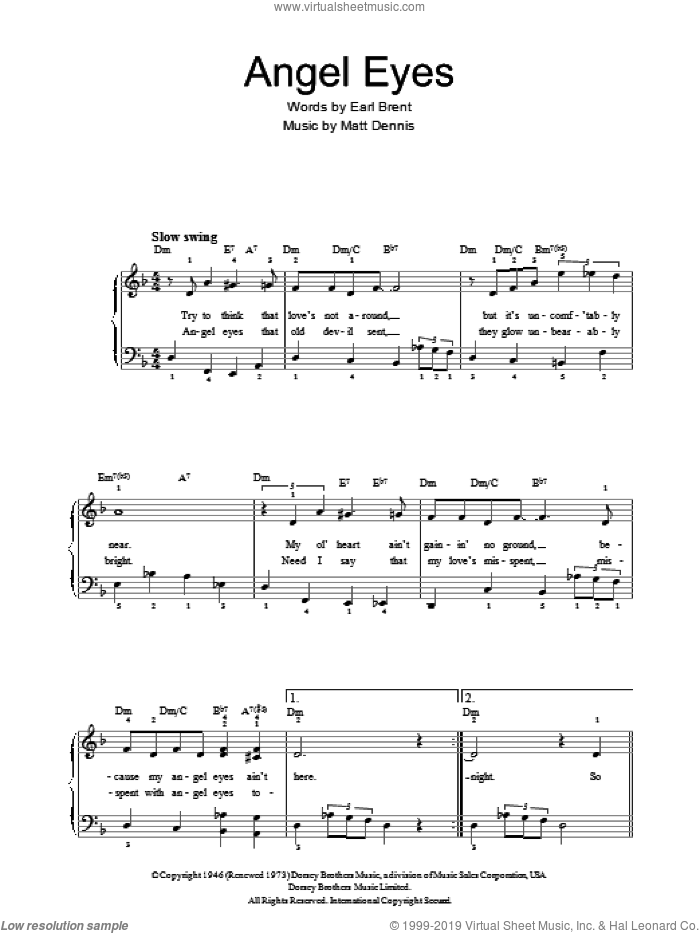 Angel Eyes sheet music for piano solo by Earl Brent and Matt Dennis. Score Image Preview.