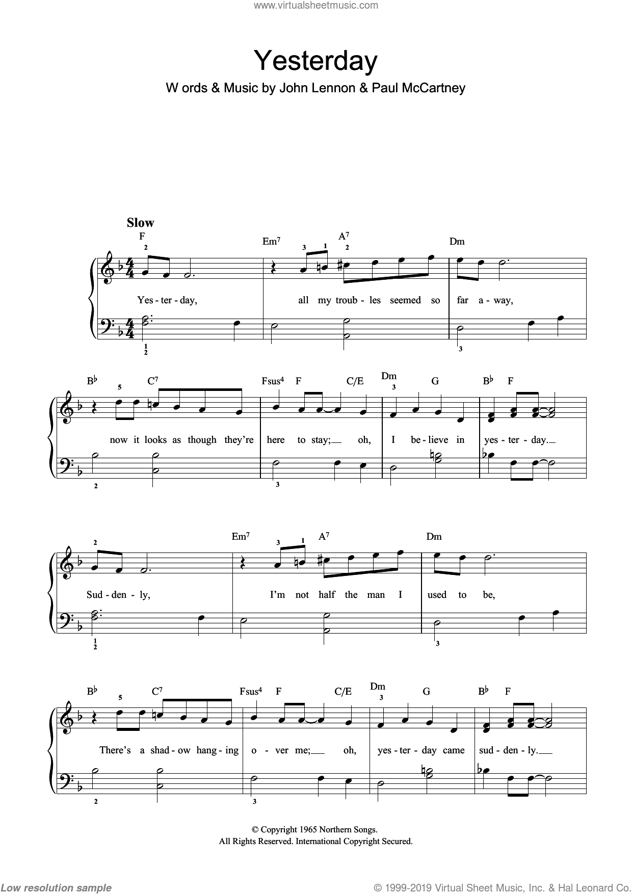 Yesterday sheet music for piano solo by Paul McCartney, The Beatles and John Lennon. Score Image Preview.
