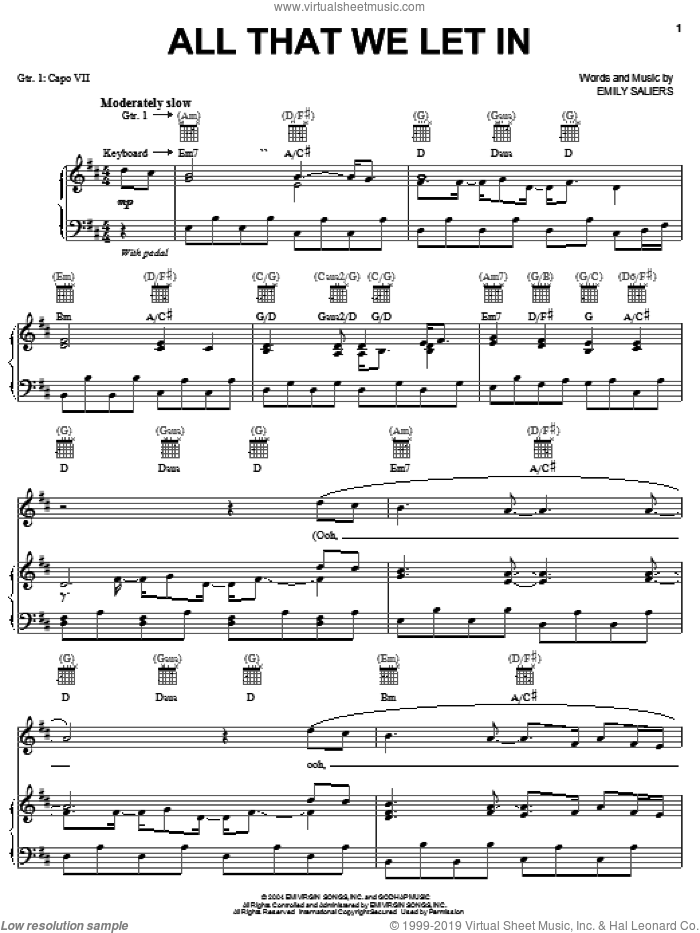 All That We Let In sheet music for voice, piano or guitar by Indigo Girls and Emily Saliers, intermediate skill level