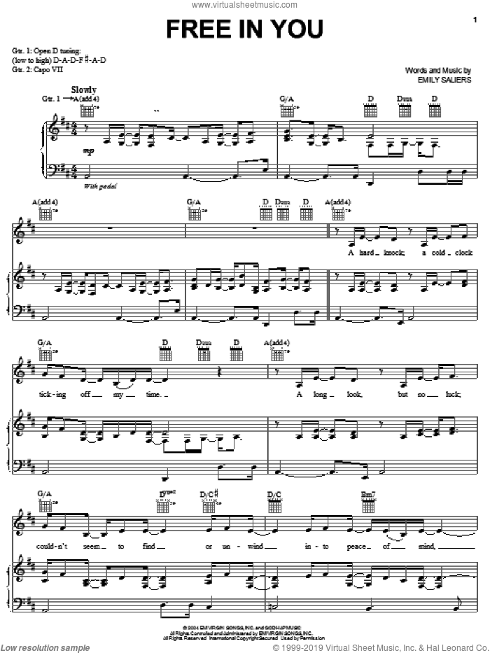 Free In You sheet music for voice, piano or guitar by Emily Saliers. Score Image Preview.