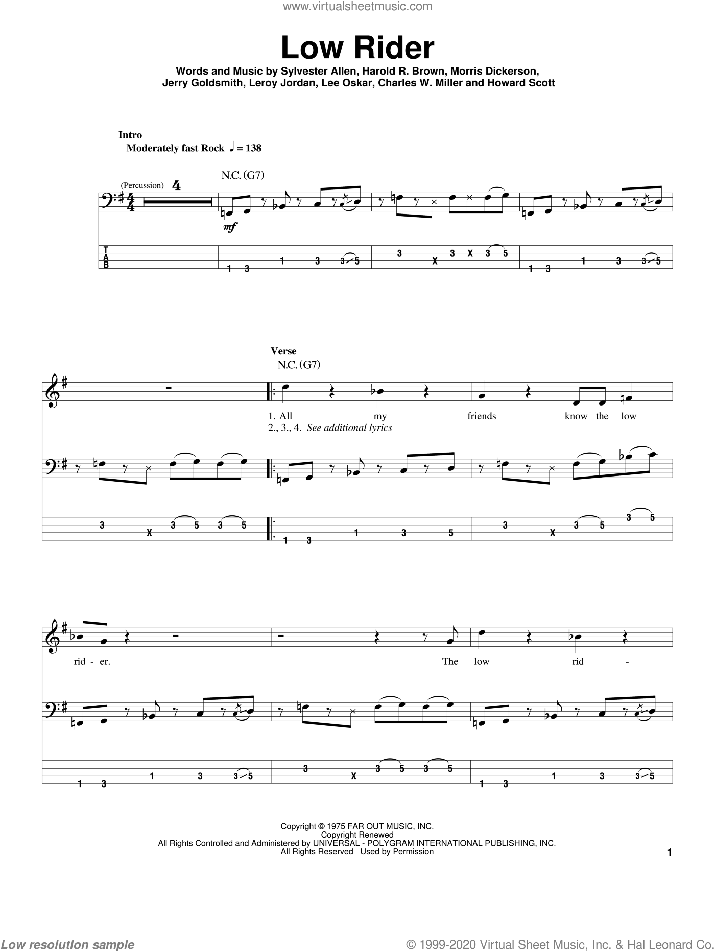 Low Rider sheet music for bass (tablature) (bass guitar) by Sylvester Allen