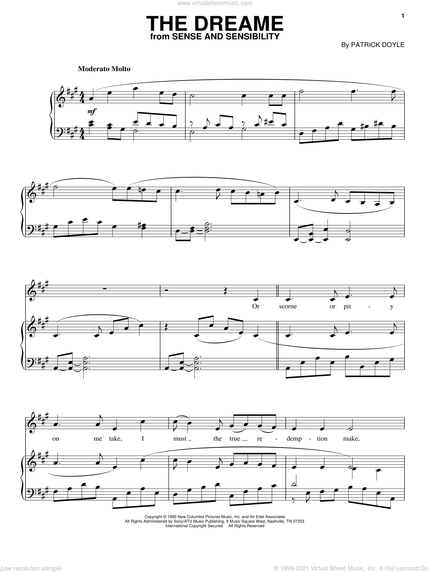 The Dreame sheet music for voice, piano or guitar by Patrick Doyle and Sense And Sensibility (Movie), intermediate skill level