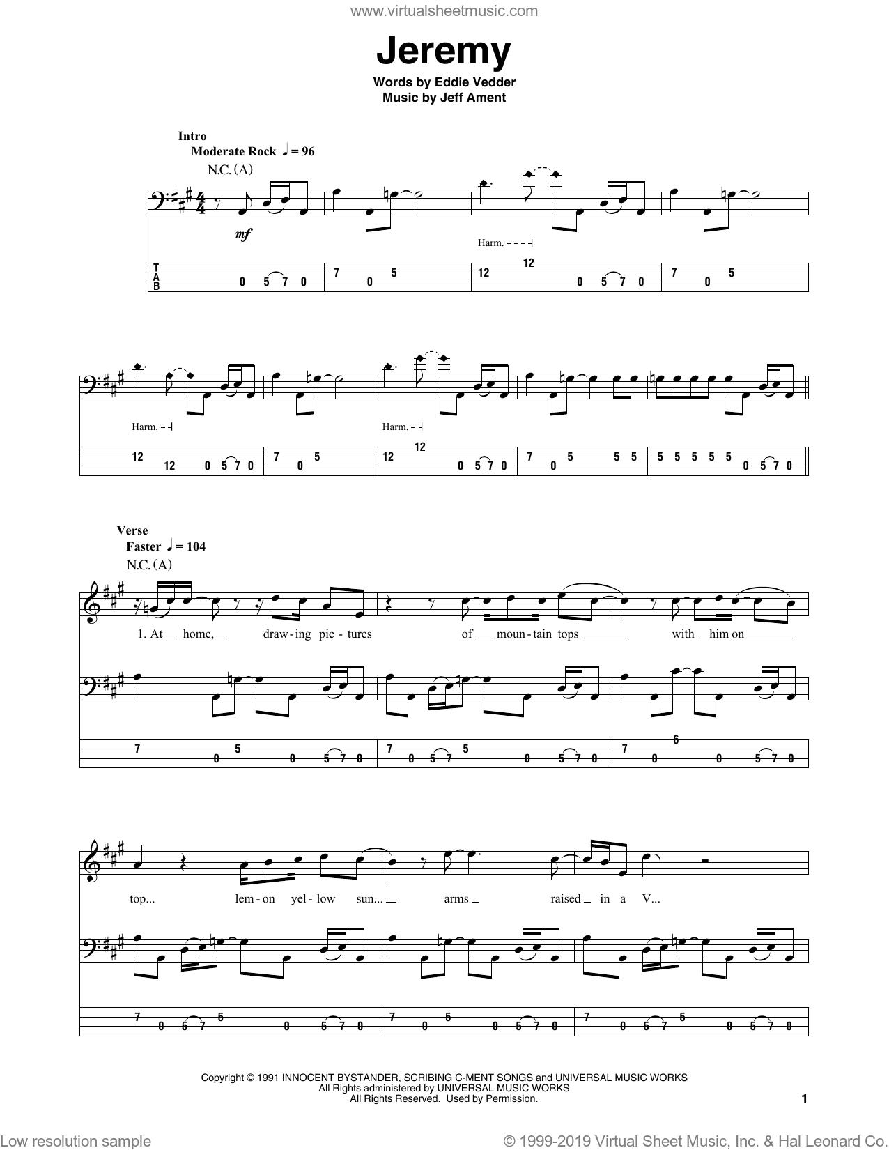 Jam Jeremy Sheet Music For Bass Tablature Bass Guitar Pdf