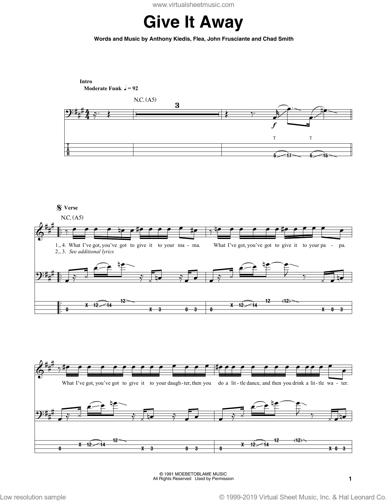 Give It Away sheet music for bass (tablature) (bass guitar) by Red Hot Chili Peppers, Anthony Kiedis, Chad Smith, Flea and John Frusciante, intermediate skill level
