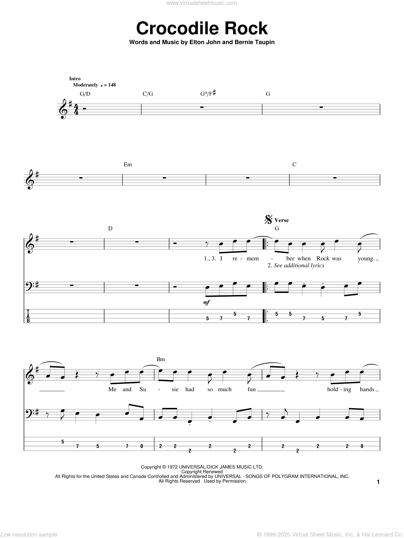 Crocodile Rock sheet music for bass (tablature) (bass guitar) by Bernie Taupin and Elton John. Score Image Preview.