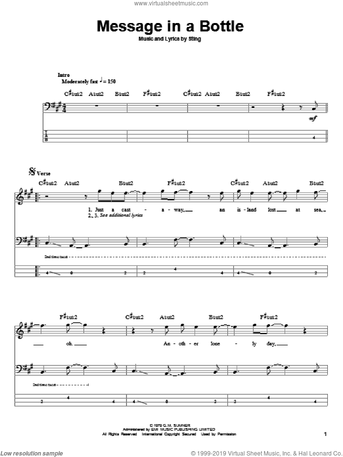 Message In A Bottle sheet music for bass (tablature) (bass guitar) by The Police and Sting. Score Image Preview.