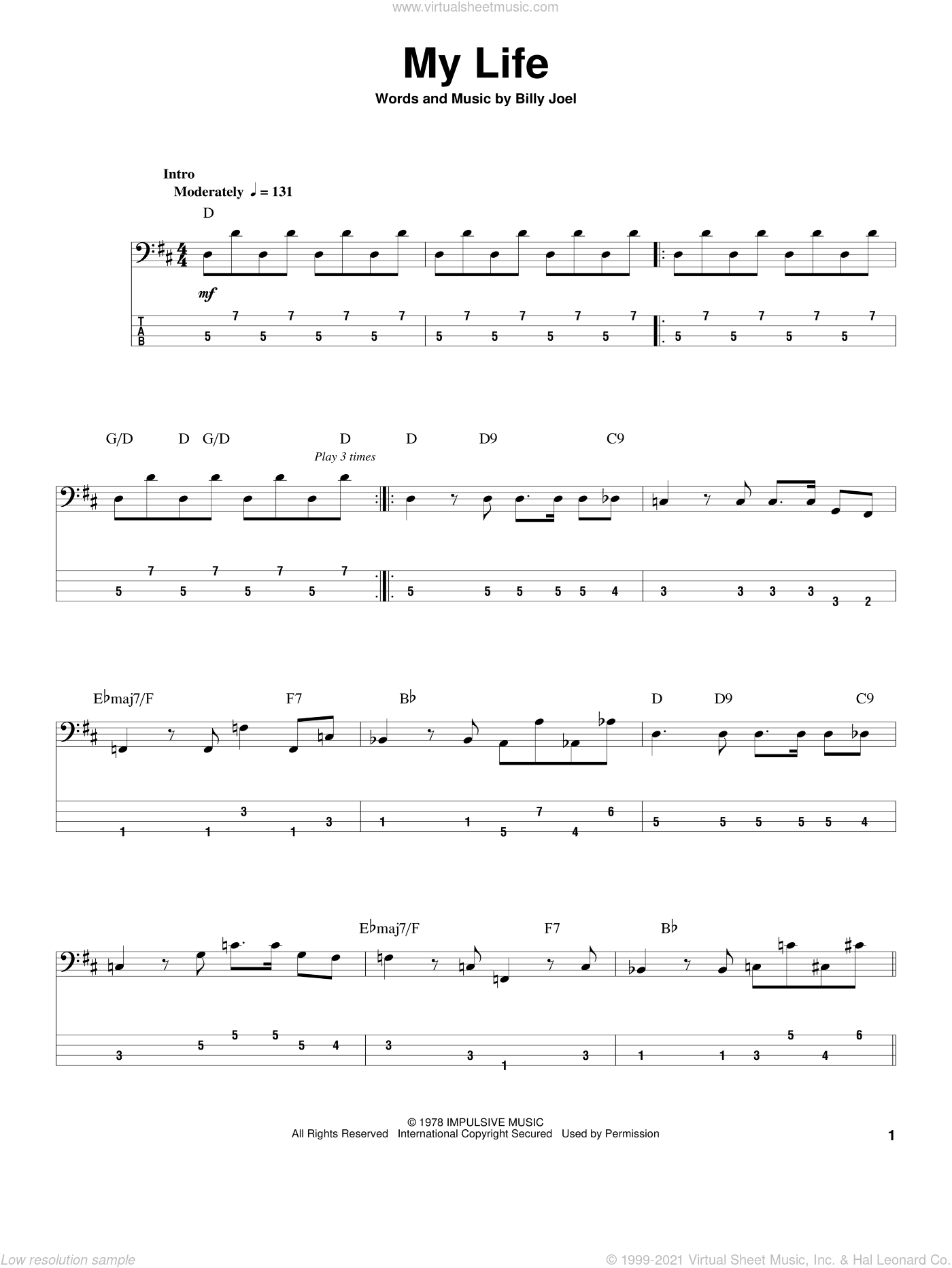 My Life sheet music for bass (tablature) (bass guitar) by Billy Joel. Score Image Preview.