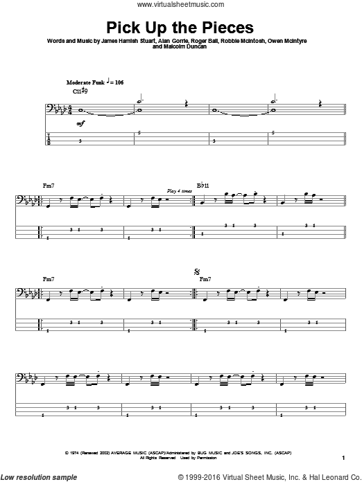 Pick Up The Pieces sheet music for bass (tablature) (bass guitar) by Roger Ball, Alan Gorrie, Malcolm Duncan and Robbie McIntosh. Score Image Preview.