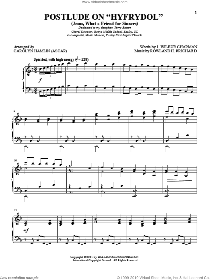 Jesus! What A Friend To Sinners sheet music for piano solo by J. Wilbur Chapman and Rowland Prichard, intermediate skill level