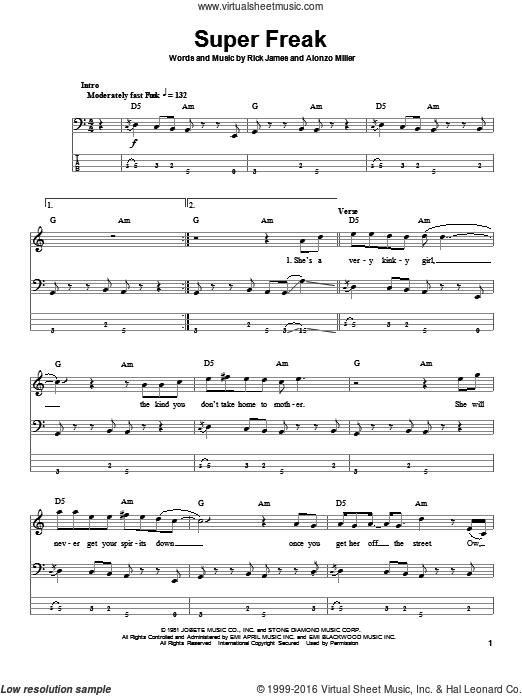 Super Freak sheet music for bass (tablature) (bass guitar) by Alonzo Miller and Rick James. Score Image Preview.