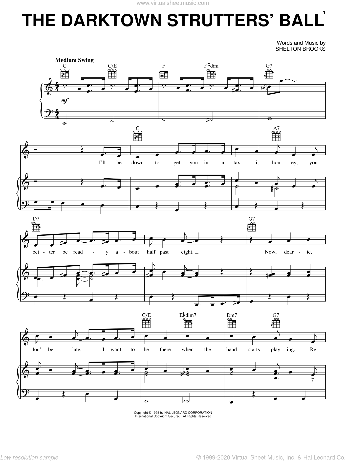 The Darktown Strutters' Ball sheet music for voice, piano or guitar by Shelton Brooks