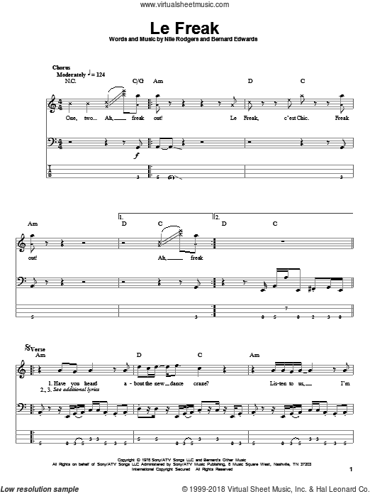 Le Freak sheet music for bass (tablature) (bass guitar) by Nile Rodgers, Chic and Bernard Edwards. Score Image Preview.