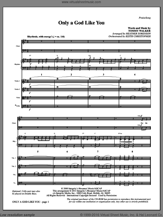 Only A God Like You (COMPLETE) sheet music for orchestra by Tommy Walker and Heather Sorenson. Score Image Preview.