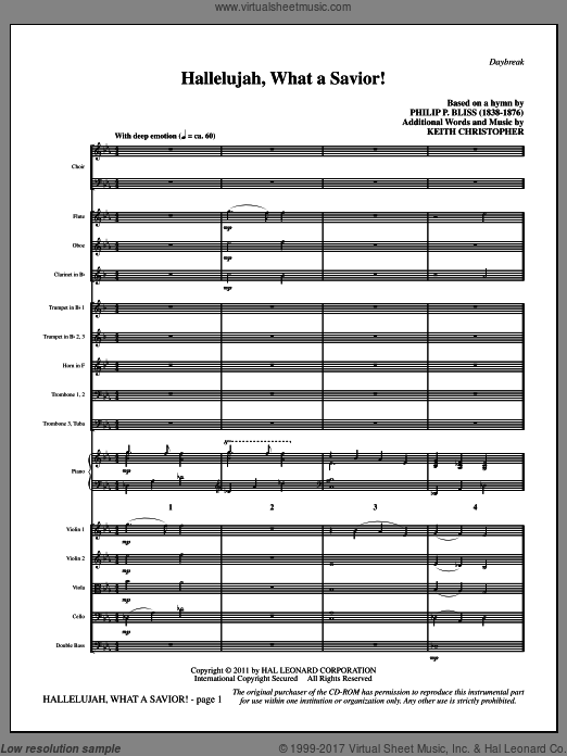 Hallelujah, What A Savior! (COMPLETE) sheet music for orchestra by Philip P. Bliss